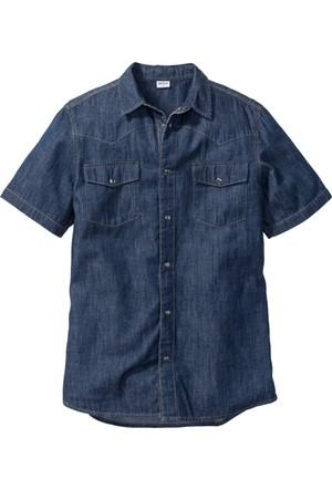 John Baner Jeanswear Erkek Mavi Çift Cepli Jean Gömlek