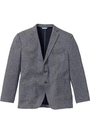 Bpc Selection Erkek Mavi Kendinden Desenli Jarse Blazer Ceket