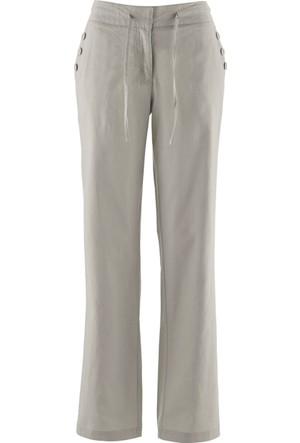 Bpc Bonprix Collection Kadın Gri Beyaz Keten Pantolon