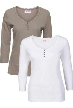 John Baner Jeanswear Kadın Kahverengi İkili Pakette Truvakar Kol Ribana Sweatshirt