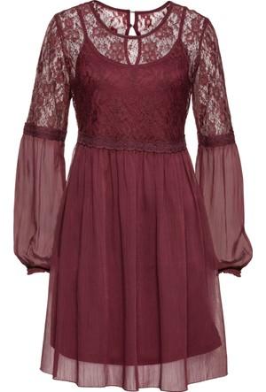 Rainbow Kadın Kırmızı Dantelli Mini Elbise
