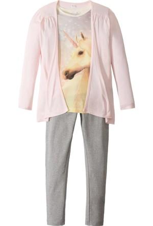 Bpc Bonprix Collection Kız Çocuk Pembe T-Shirt + Hırka + Tayt (3'Lü Takım)