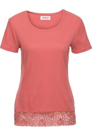 John Baner Jeanswear Kadın Pembe Dantel Detaylı Kısa Kol Ribana T-Shirt