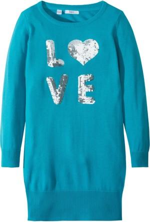 Bpc Bonprix Collection Kız Çocuk Mavi Payet Aplike Detaylı Örgü Elbise