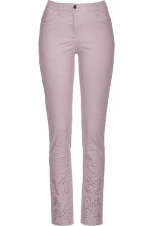 Bpc Selection Kadın Lila Nakışlı & Işıltılı Taş Detaylı Streç Pantolon