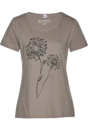 Bpc Selection Kadın Kahverengi Çiçek Baskılı T-Shirt