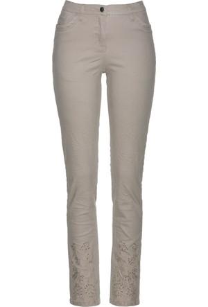 Bpc Selection Kadın Gri Nakışlı & Işıltılı Taş Detaylı Streç Pantolon
