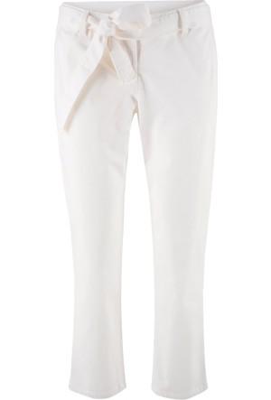 Bpc Bonprix Collection Kadın Beyaz Kumaş Kemerli Bilek Boy Pantolon