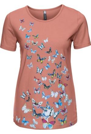 Rainbow Kadın Kahverengi Baskılı T-Shirt