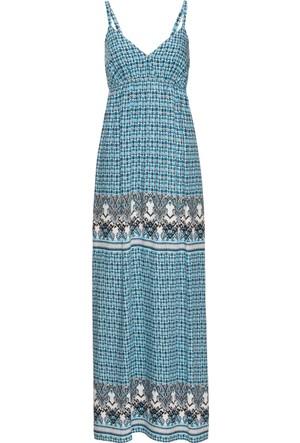 Rainbow Kadın Mavi Yırtmaçlı Uzun Elbise