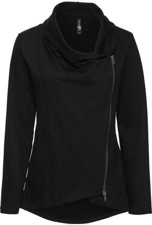 Rainbow Kadın Siyah Asimetrik Fermuarlı Sweat Ceket