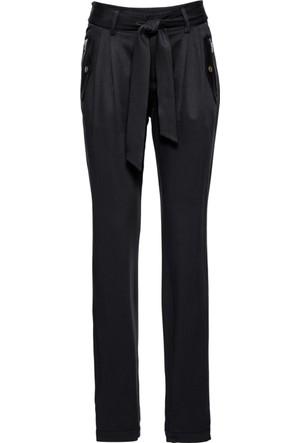 Bodyflirt Kadın Siyah Kumaş Kemerli Saten Pantolon
