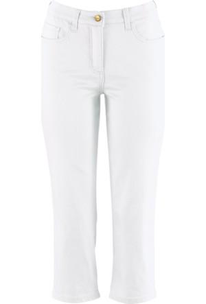 Bpc Bonprix Collection Kadın Beyaz Yüksek Belli Kapri Pantolon