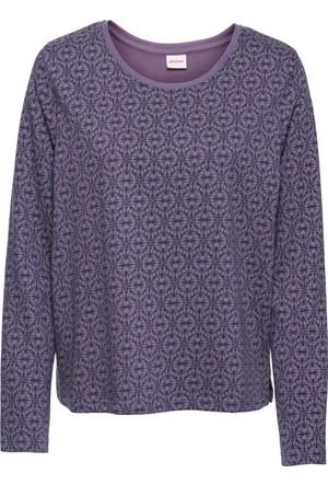 John Baner Jeanswear Kadın Lila Desenli Sweatshirt