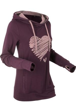 Bpc Bonprix Collection Kadın Lila Baskılı Kapüşonlu Sweatshirt