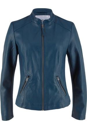 Bpc Bonprix Collection Kadın Mavi Suni Deri Ceket