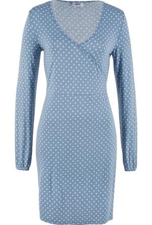 Bpc Bonprix Collection Kadın Mavi Uzun Kol Elbise
