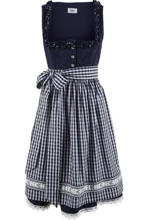 Bpc Bonprix Collection Kadın Maviönlüklü Elbise Diz Hizasında