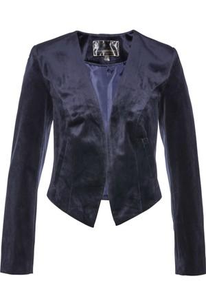 Bpc Selection Kadın Mavi Kısa Kadife Blazer Ceket
