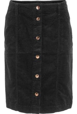 Bpc Bonprix Collection Kadın Siyah Düğmeli Streç Kadife Etek