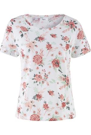 Bpc Bonprix Collection Kadın Beyaz Kısa Kol Baskılı T-Shirt