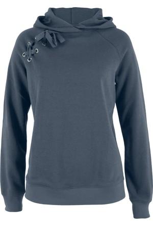 Bpc Bonprix Collection Kadın Mavi Bağcık Detaylı Sweatshirt