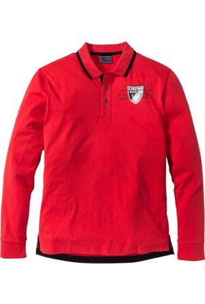 Bpc Selection Erkek Kırmızı Uzun Kollu Polo Yaka Sweatshirt