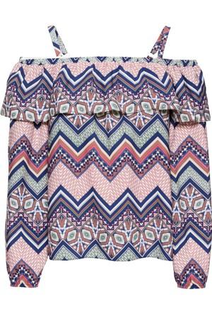Rainbow Kadın Mavi Düşük Omuz Bluz