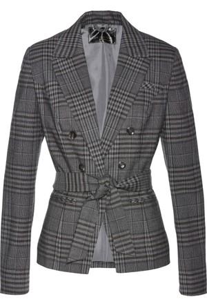 Bpc Selection Kadın Premium Gri Kemerli Ekose Blazer Ceket