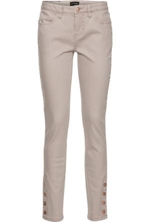 Bodyflirt Kadın Gri Süs Düğmeli Streç Pantolon