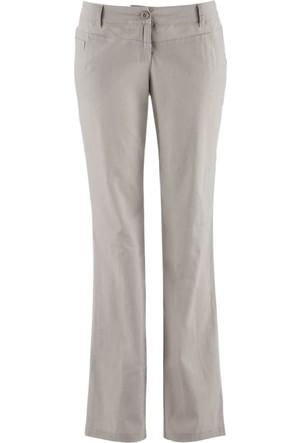 Bpc Bonprix Collection Kadın Gri Düz Kesim Keten Pantolon