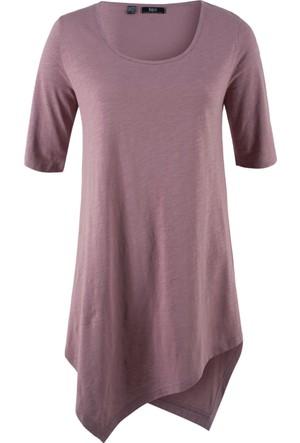 Bpc Bonprix Collection Kadın Lila Asimetrik Kesim T-Shirt