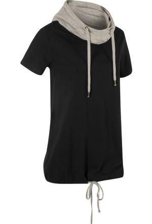 Bpc Bonprix Collection Kadın Siyah Bağcık Detaylı T-Shirt