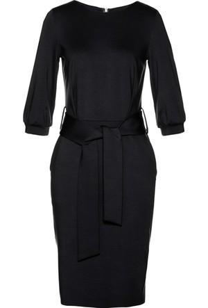 Bpc Selection Kadın Siyah Kumaş Kemerli Elbise