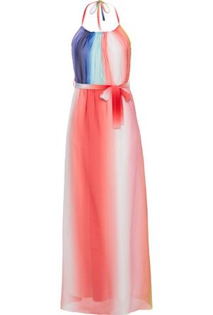 Bodyflirt Kadın Boutique Mavi Renkli Çizgili Uzun Elbise