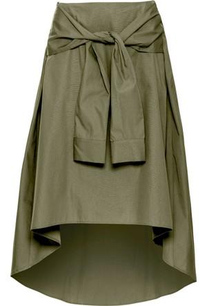 Bodyflirt Kadın Yeşil Gömlek Kol Detaylı Etek