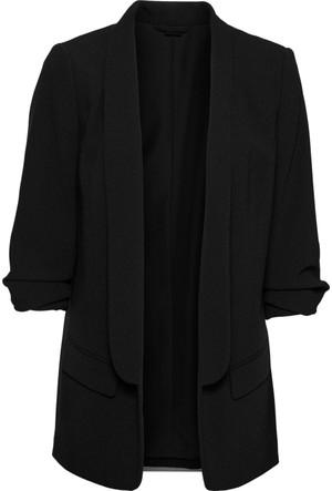 Bodyflirt Kadın Siyah Kolları Drapeli Uzun Blazer Ceket
