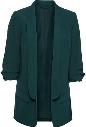 Bodyflirt Kadın Yeşil Kolları Drapeli Uzun Blazer Ceket