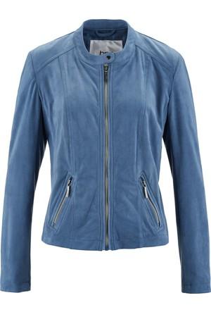 Bpc Bonprix Collection Kadın Mavi Suni Velür Deri Ceket