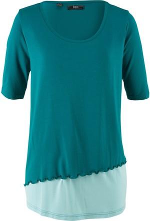 Bpc Bonprix Collection Kadın Mavi İki Parça Görünümde Yarım Kollu Bluz