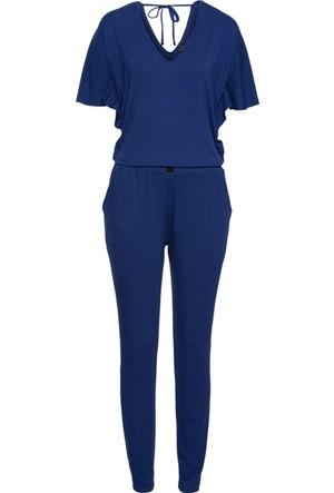 Bodyflirt Kadın Mavi Jarse Tulum