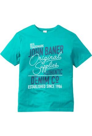 John Baner Jeanswear Erkek Yeşil Baskılı T-Shirt