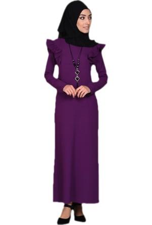 Elite Life Fırfırlı Mor Elbise