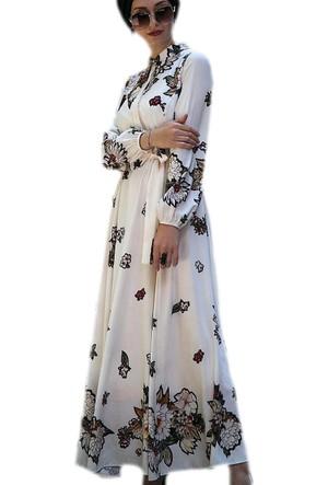 İnşirah Çiçekli Elbise Krem