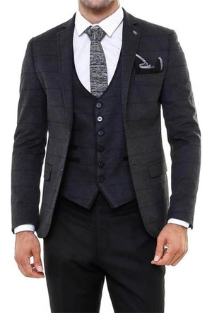 Wss Wessi Ceket Ekose, Pantolon Düz Kaşe Takım Elbise