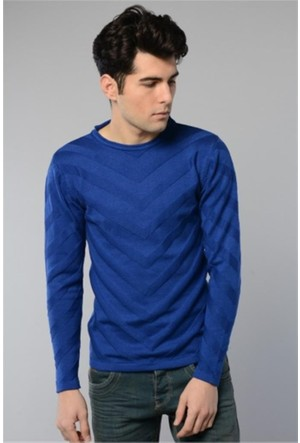 Rodin Hills Saks O Yaka V Desen Triko Sweat Shirt 1099