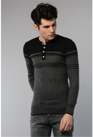 Rodin Hills Siyah Düğmeli Çizgili Triko Sweat Shirt 8031