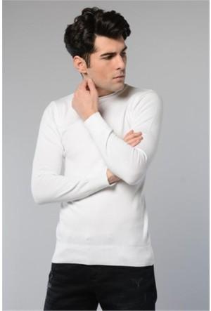 Rodin Hills Beyaz O Yaka Basic Triko Sweat Shirt 1024