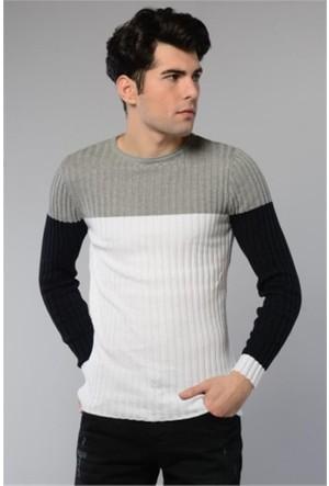 Rodin Hills Gri O. Yaka Üç Renk Triko Sweat Shirt 8020