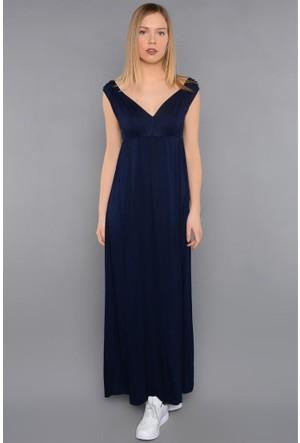 Rodin Hills Lacivert Çift V . Yaka Askılı Elbise